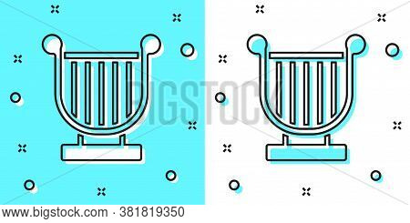 Black Line Ancient Greek Lyre Icon Isolated On Green And White Background. Classical Music Instrumen