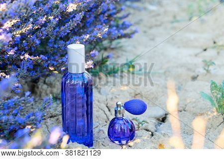 Lavender Field With Essence Products Two Bottles