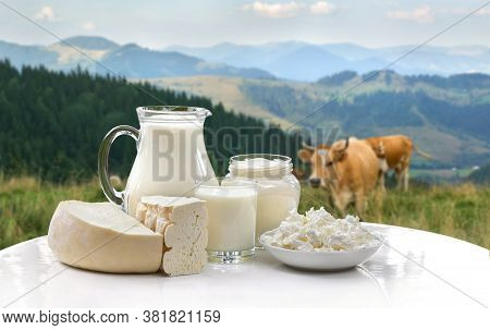Milk, Sour Cream, Cheese And Cottage Cheese On White Table On Background Of Meadow With Cows In The