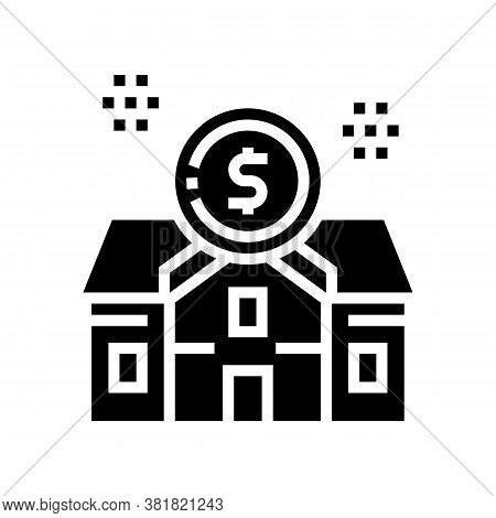 Rental House Building Glyph Icon Vector. Rental House Building Sign. Isolated Contour Symbol Black I