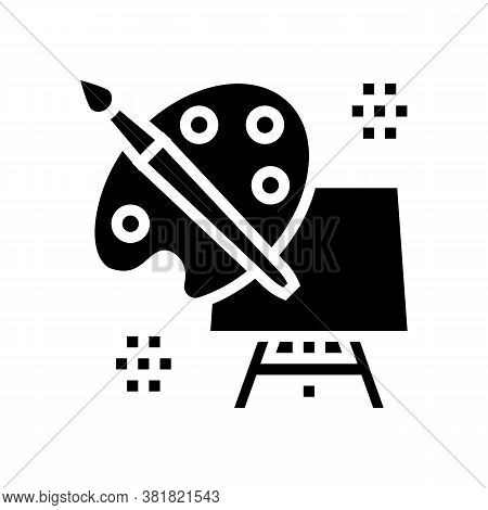 Art Palette Brush And Canvas On Tripod Glyph Icon Vector. Art Palette Brush And Canvas On Tripod Sig