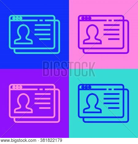 Pop Art Line Resume Icon Isolated On Color Background. Cv Application. Searching Professional Staff.
