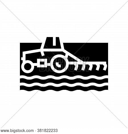 Tractor Cultivating Field Glyph Icon Vector. Tractor Cultivating Field Sign. Isolated Contour Symbol