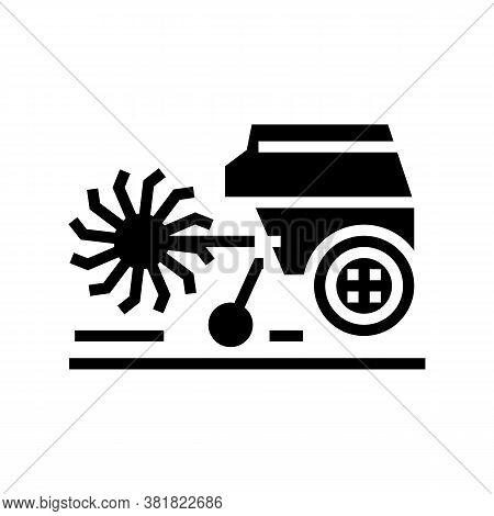 Cultivator Machine Glyph Icon Vector. Cultivator Machine Sign. Isolated Contour Symbol Black Illustr