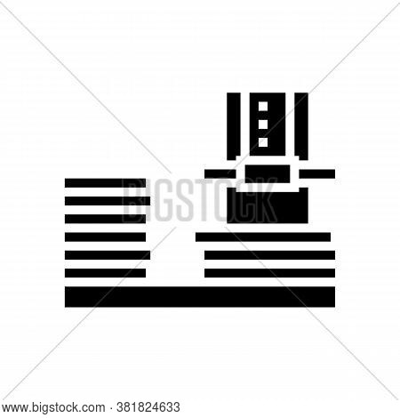 Plywood Factory Equipment Glyph Icon Vector. Plywood Factory Equipment Sign. Isolated Contour Symbol