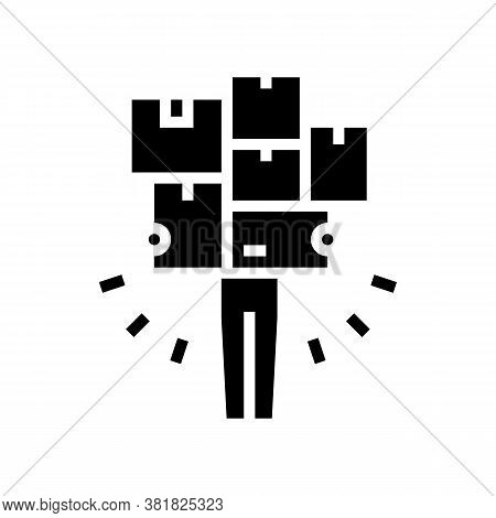Human With Boxes Pile Glyph Icon Vector. Human With Boxes Pile Sign. Isolated Contour Symbol Black I
