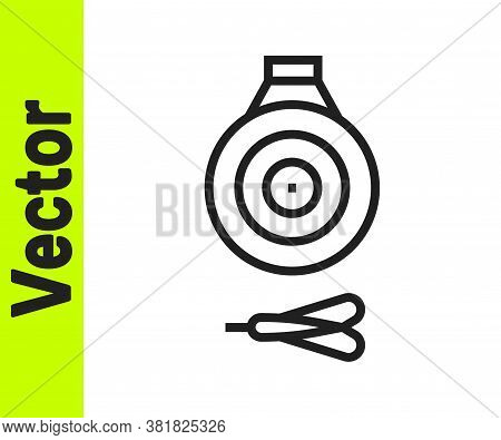 Black Line Classic Dart Board And Arrow Icon Isolated On White Background. Dartboard Sign. Game Conc