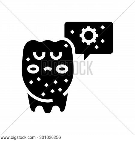 Unhealthy Tooth Glyph Icon Vector. Unhealthy Tooth Sign. Isolated Contour Symbol Black Illustration