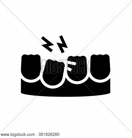 Loose Tooth Glyph Icon Vector. Loose Tooth Sign. Isolated Contour Symbol Black Illustration