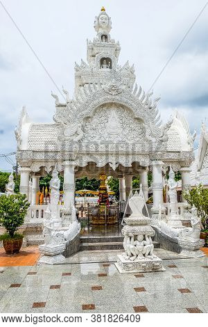 Nan ,thailand - 2020 August 05 : Ming Muang Temple Is Well-known For White-grey Architectures Around