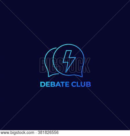 Debate Club Vector Logo, Linear, Eps 10 File, Easy To Edit