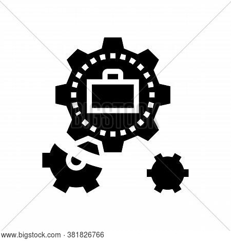 Mechanical Gears Glyph Icon Vector. Mechanical Gears Sign. Isolated Contour Symbol Black Illustratio