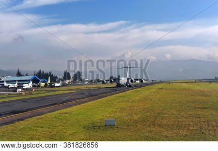 Quito, Ecuador, June 26, 2018: A U.S. Air Force C-17 Globemaster III from the Mississippi Air National Guard's 172nd Airlift Wing Territory of Quito Airport in Ecuador.
