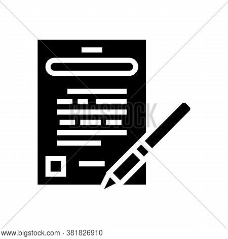 Agreement Signing Glyph Icon Vector. Agreement Signing Sign. Isolated Contour Symbol Black Illustrat
