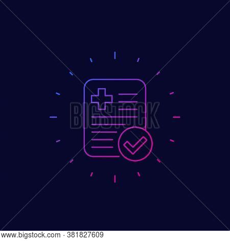 Paid Medical Bill, Linear Vector Icon, Eps 10 File, Easy To Edit