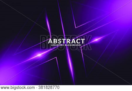Dark Purple Realistic Abstract Geometric Background. Neon Light Effect Vector. Abstract Futuristic M