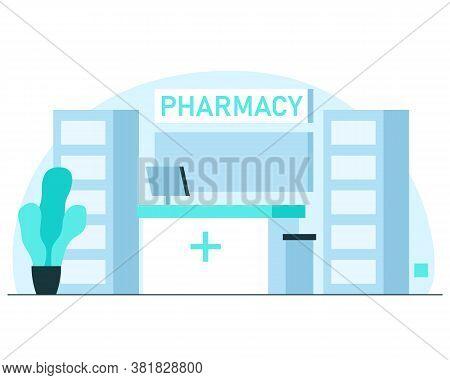 Pharmacy Exterior Illustration. Vector Concept Illustration Of Modern Pharmacy Interior In Hospital