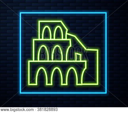 Glowing Neon Line Coliseum In Rome, Italy Icon Isolated On Brick Wall Background. Colosseum Sign. Sy