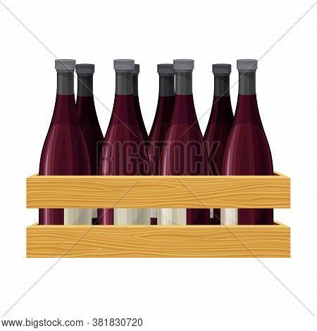 Grape Wine Glass Bottles Standing On Wooden Wine Rack In Cellar Vector Illustration