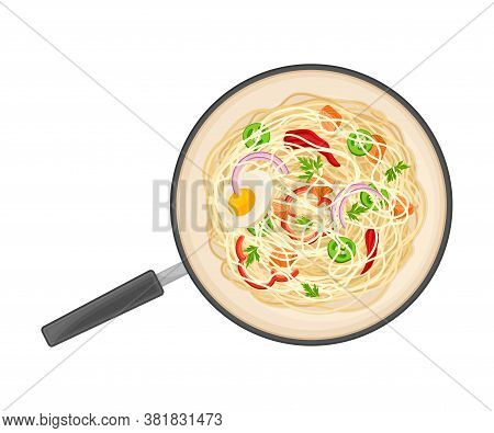 Udon Noodle With Salmon Slabs And Herbs Rested In Wok Pan Above View Vector Illustration