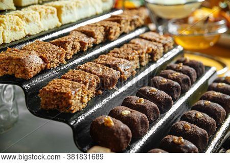 Closeup On A Variety Of Assorted Buffet Sweet Pastries