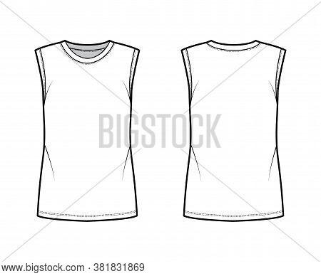 Cotton-jersey Tank Technical Fashion Illustration With Crew Neckline, Oversized, Cut Armholes. Flat