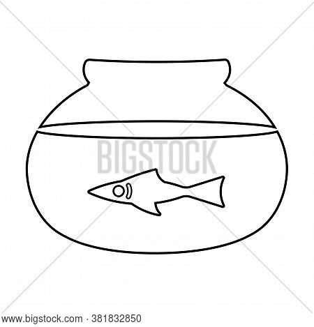 Fishbowl School Science Supplies Draw Biology Icon- Vector