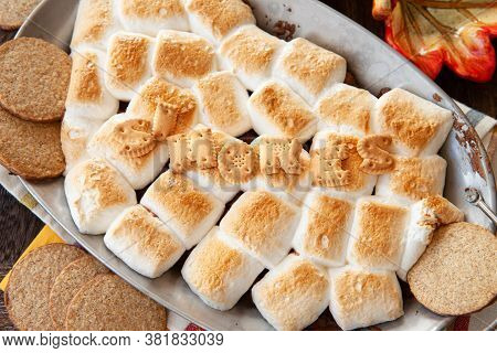 Sweet S'mores Dip With Chocolate And Roasted Marshmallows