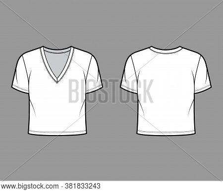 Cropped Cotton-jersey T-shirt Technical Fashion Illustration With Deep V-neck, Short Sleeves, Waist