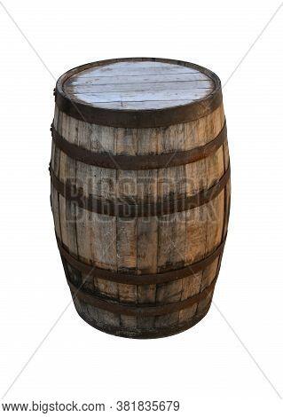 Close Up One Old Vintage Oak Wood Wine Barrel Or Aged Weathered Whiskey Cask Isolated On White Backg