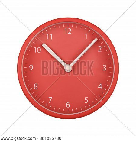 Close Up Red Wall Clock Face Dial With Arabic Numerals, Hour And Minute Hands Isolated On White Back