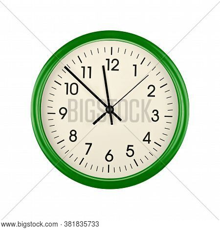 Close Up Green Wall Clock Face Dial With Arabic Numerals, Hour, Minute And Second Hands Isolated On