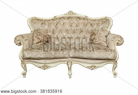 Beige Tufted Retro Chesterfield Style Sofa With Couch Pillows Isolated Over White Background, Low An