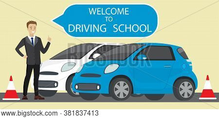 White And Blue Driving School Car, Caucasian Male Instructor With Speech Bubble