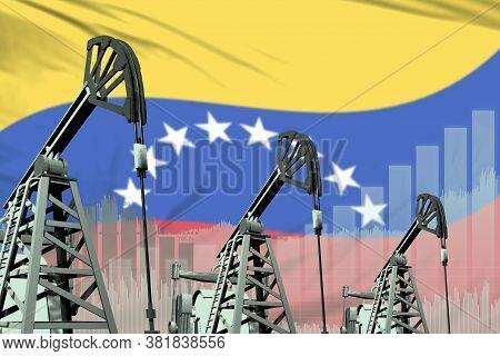 Venezuela Oil And Petrol Industry Concept, Industrial Illustration On Venezuela Flag Background. 3d