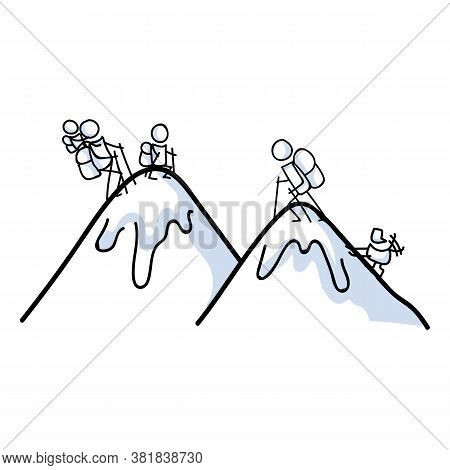 Hand Drawn Stickman Family Hiking With Dog Concept. Simple Outdoor Vacation Doodle Icon For Staycati