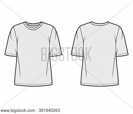 Cotton-jersey T-shirt Technical Fashion Illustration With Crew Neckline, Elbow Sleeves, Oversized, T