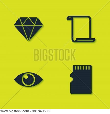Set Diamond, Micro Sd Memory Card, Eye And Paper Scroll Icon. Vector