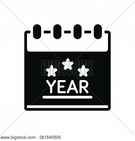 Black Solid Icon For Year Month Calendar Dairy Almanac Calendar Reminder