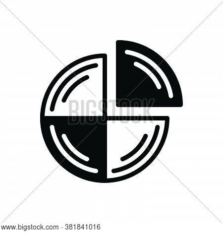 Black Solid Icon For Quarter Analysis Bar Chart Presentation Quarterly Statistics Graphic Fourth Par