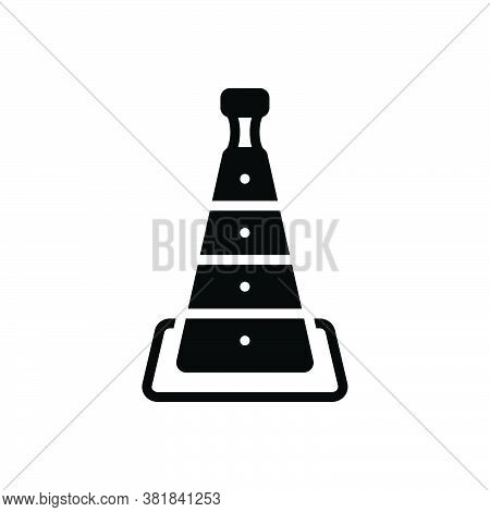 Black Solid Icon For Cone Barrier Hindrance Inhibition Disallowance Danger Boundary Construction Roa