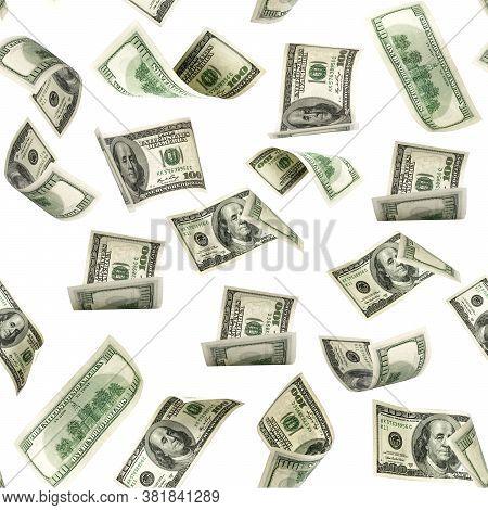 Seamless Money Pattern. Dollar Bill. Washington American Cash. Usd Money Isolated On White Backgroun