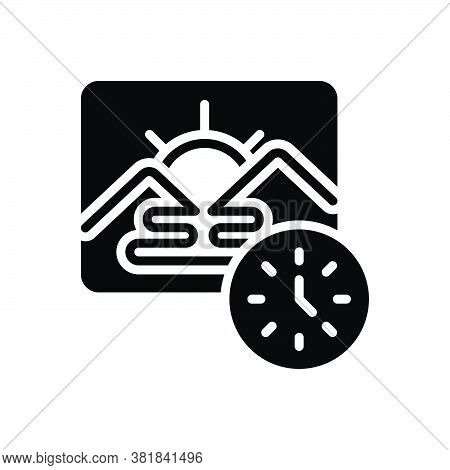Black Solid Icon For Morning Before-noon Dawn Daybreak Daylight Am Sunrise Daytime Natural Mountain