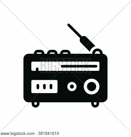 Black Solid Icon For Radio Antenna Broadcast Advertising  Ancient Pristine Broadcast Technology Jour