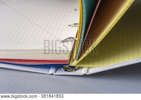 Binder Notebook Closeup. 4 Ring Multisubject Binder With Empty Color Chequered Paper Sheets.