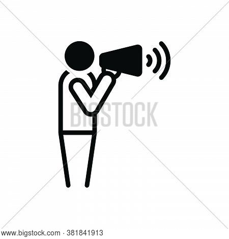 Black Solid Icon For Yell Shout Exclaim Scream Bawl Cry Megaphone Announce Advertising