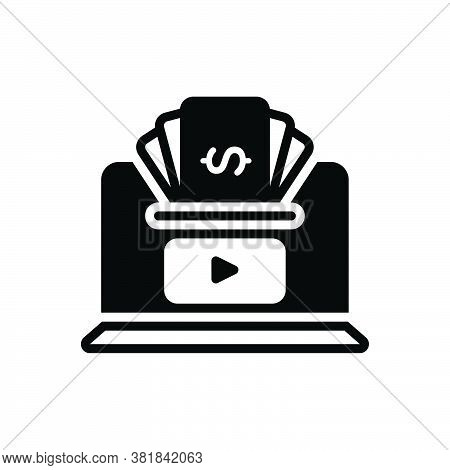 Black Solid Icon For Earn Money Receive Gain Acquire Online Payment