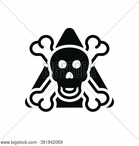 Black Solid Icon For Danger Menace Peril Jeopardy  Daubt Pitfall Skull Skeleton Bone Halloween Warni