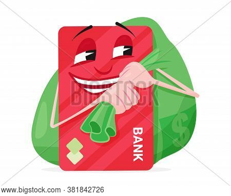 Bank Card Carries A Bag Of Money And Laughs, Vector Illustration. Favorable Deposit Or Credit On A V