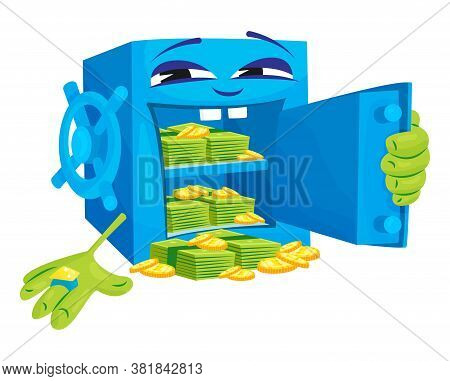 Cheerful Laughing Safe With Hands Covers Himself, Vector Illustration. Bank Deposit Security Concept